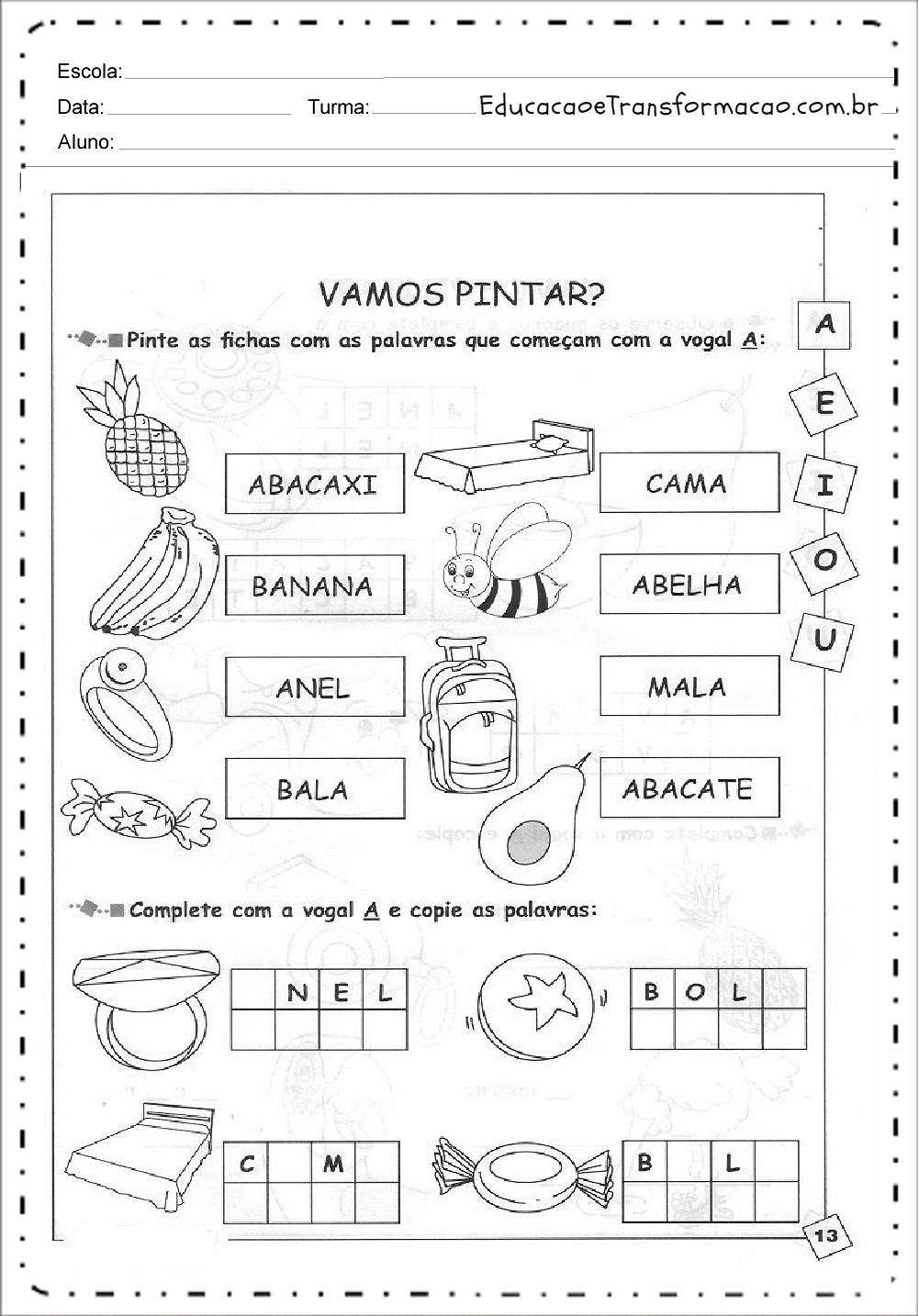 Pinte as Fichas – Atividades de Alfabetização.