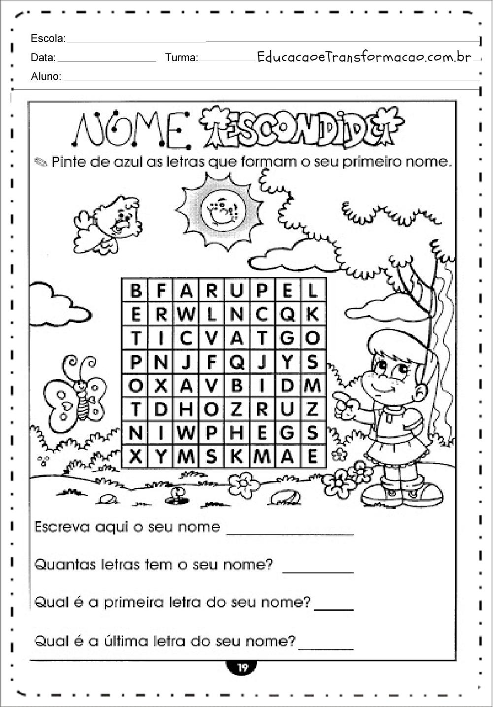 Pinte de Azul – Atividades de Alfabetização.