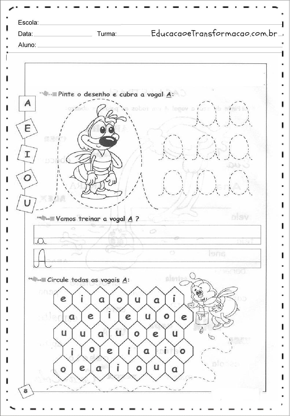 Pinte o Desenho – Atividades de Alfabetização.