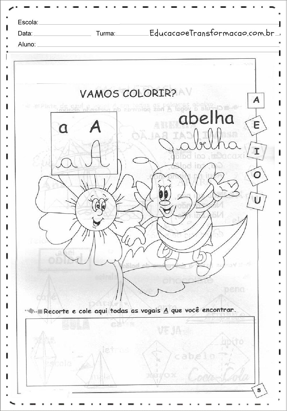 Recorte e Cole Vogais – Atividades de Alfabetização.