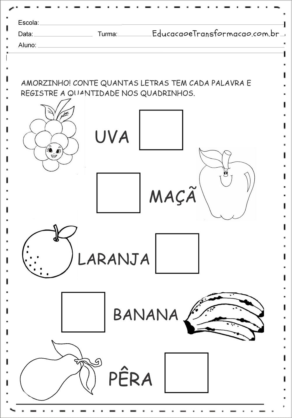 Atividades de Alimentação - Para Imprimir - Series Iniciais