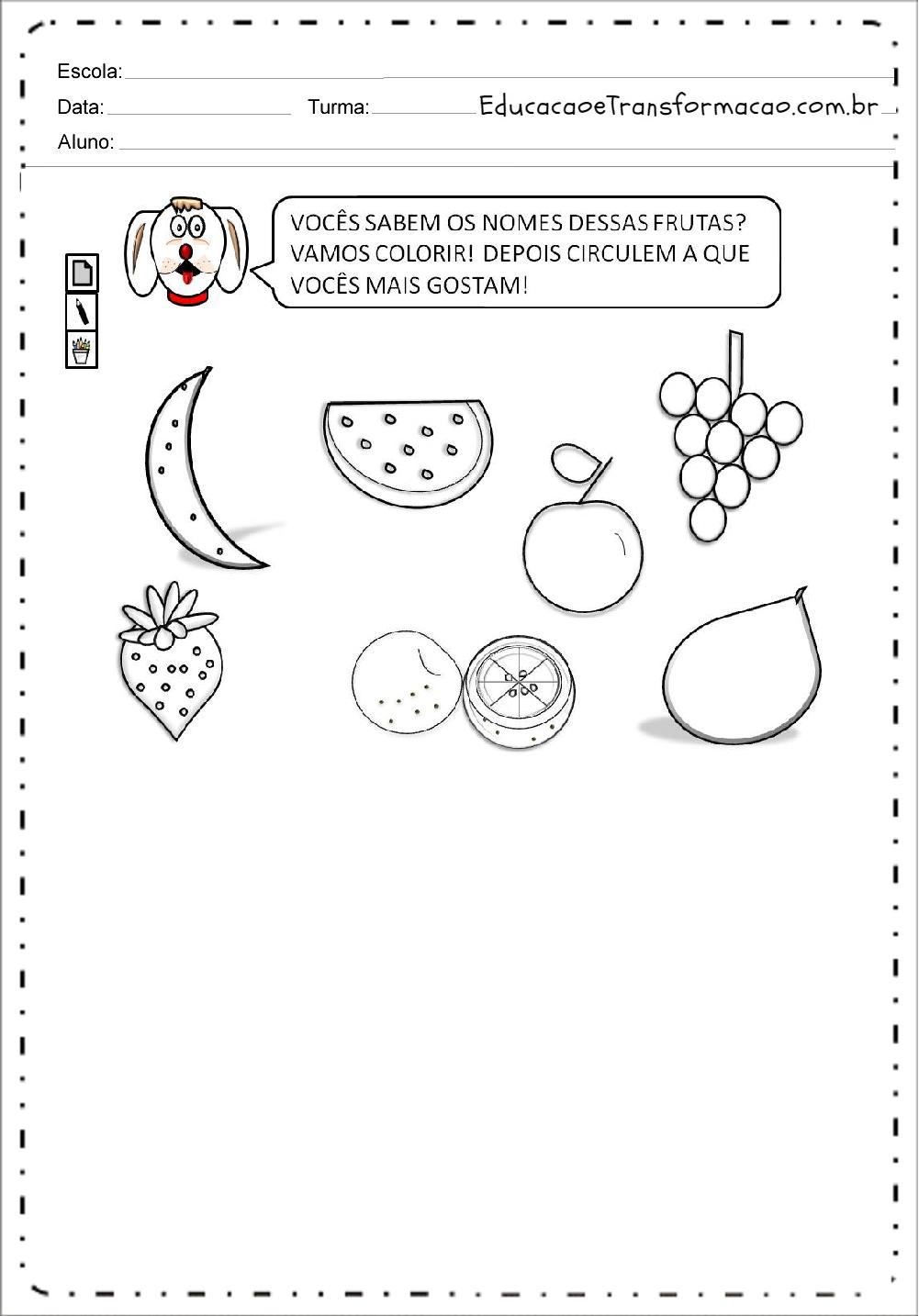 Nome das Frutas – Atividades de Alimentação.