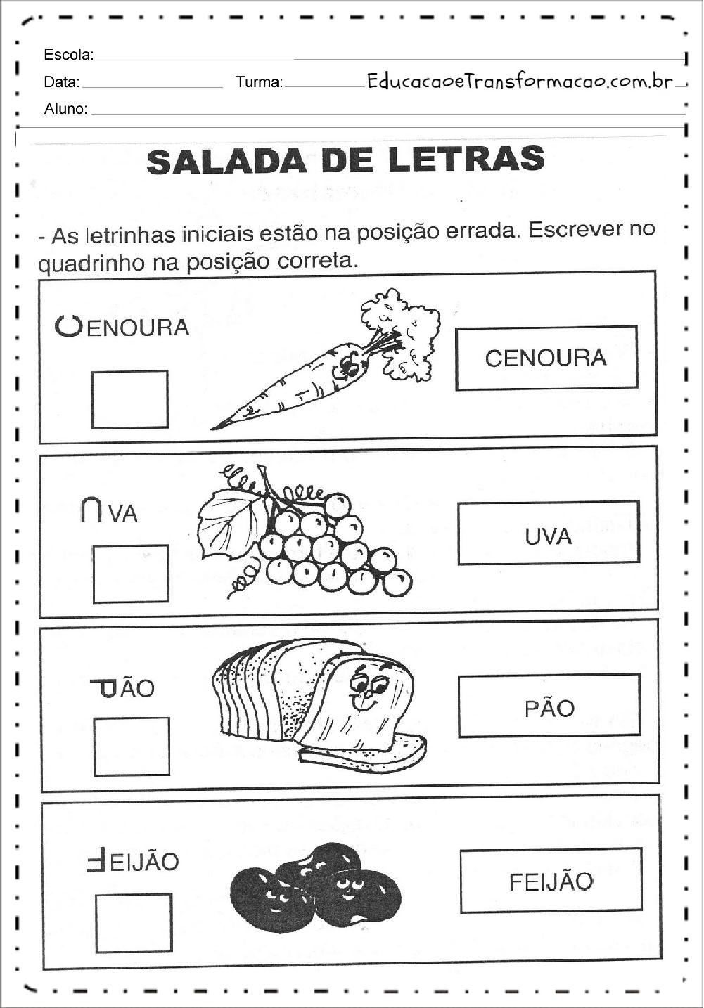 Salada de Letras – Atividades de Alimentação.