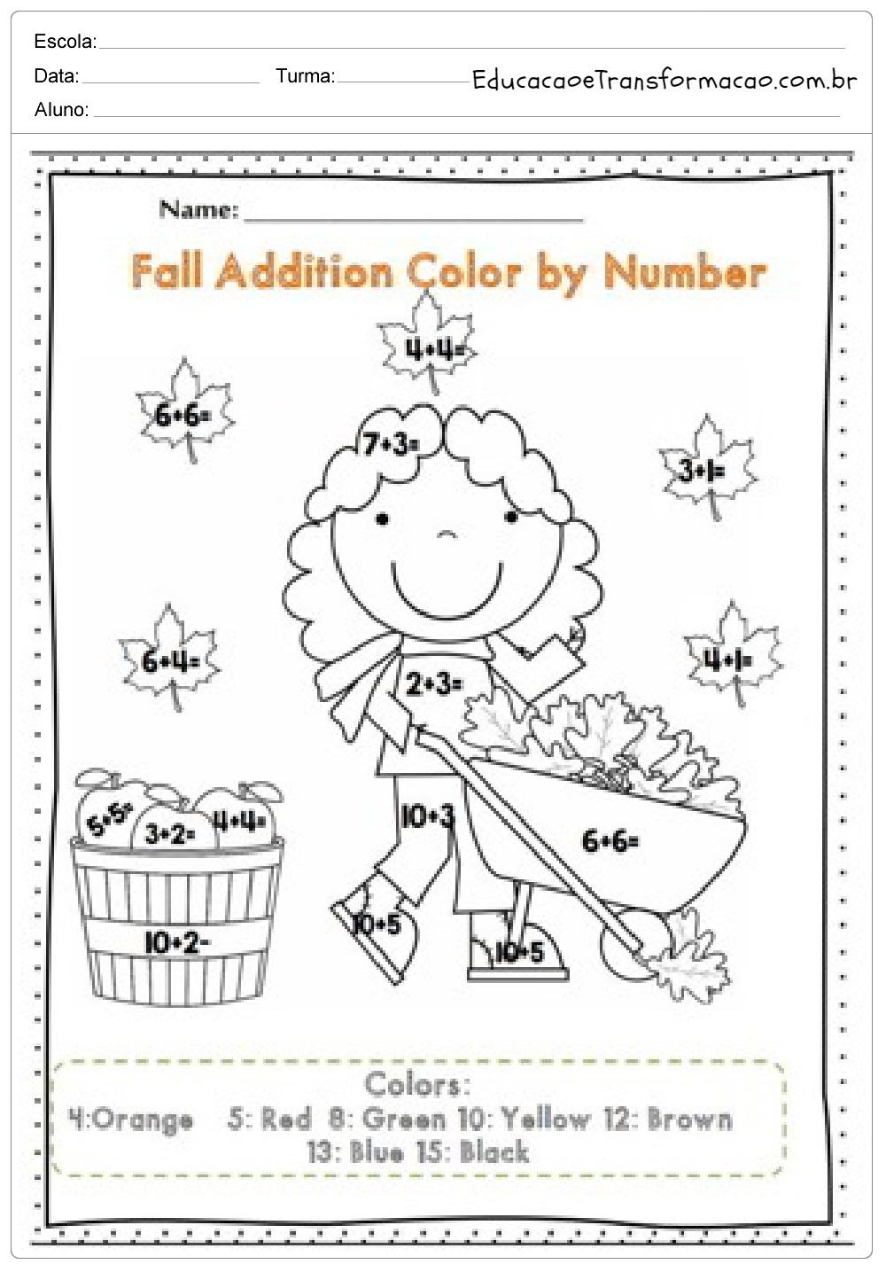 Faca A Conta E Depois Vamos Colorir Atividades De Ingles 1 Ano