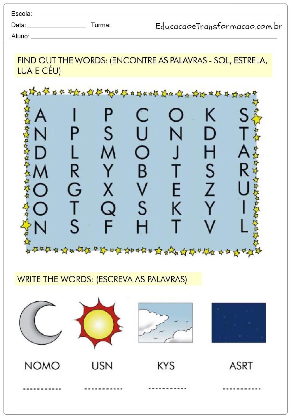 Atividades de Inglês 2 ano do Ensino Fundamental - Para Imprimir.