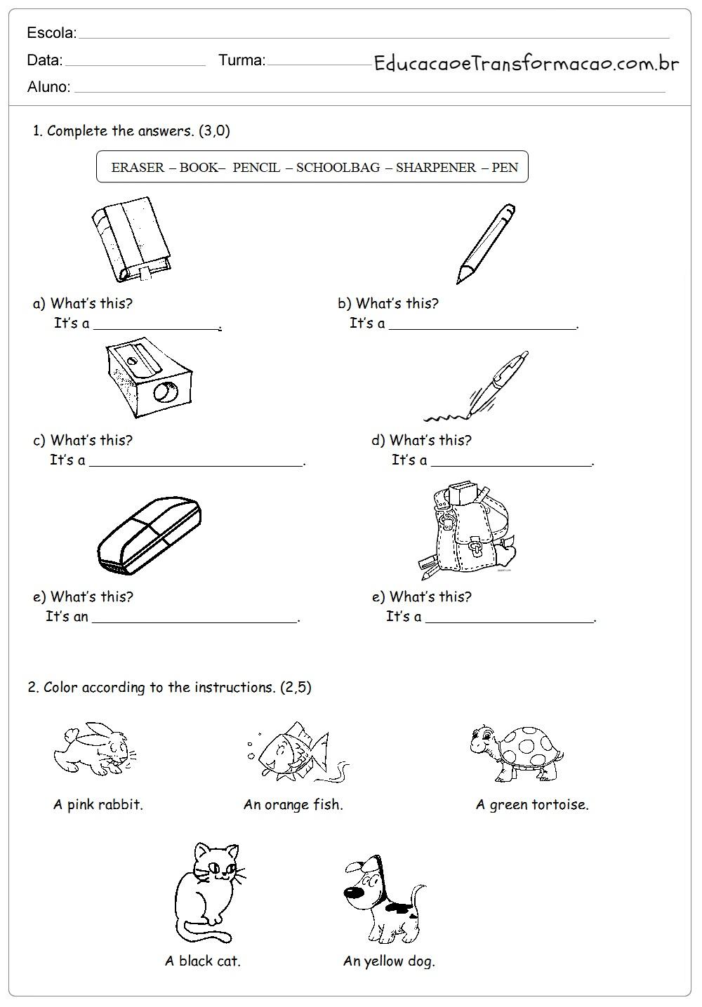 Atividades de Inglês 5 ano do Ensino Fundamental - Para Imprimir.