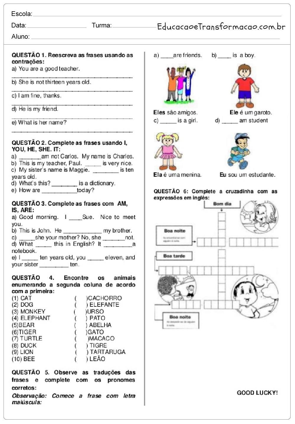 Fabuloso Atividades de Inglês 5 ano do Ensino Fundamental - Para Imprimir. PQ26