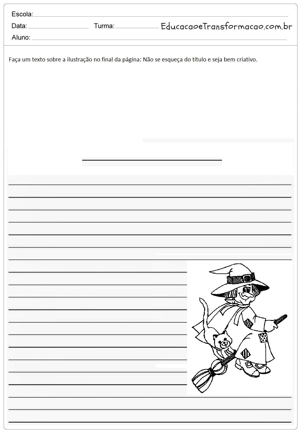 Atividades de Produção de Texto Dia das Bruxas - Para Imprimir.