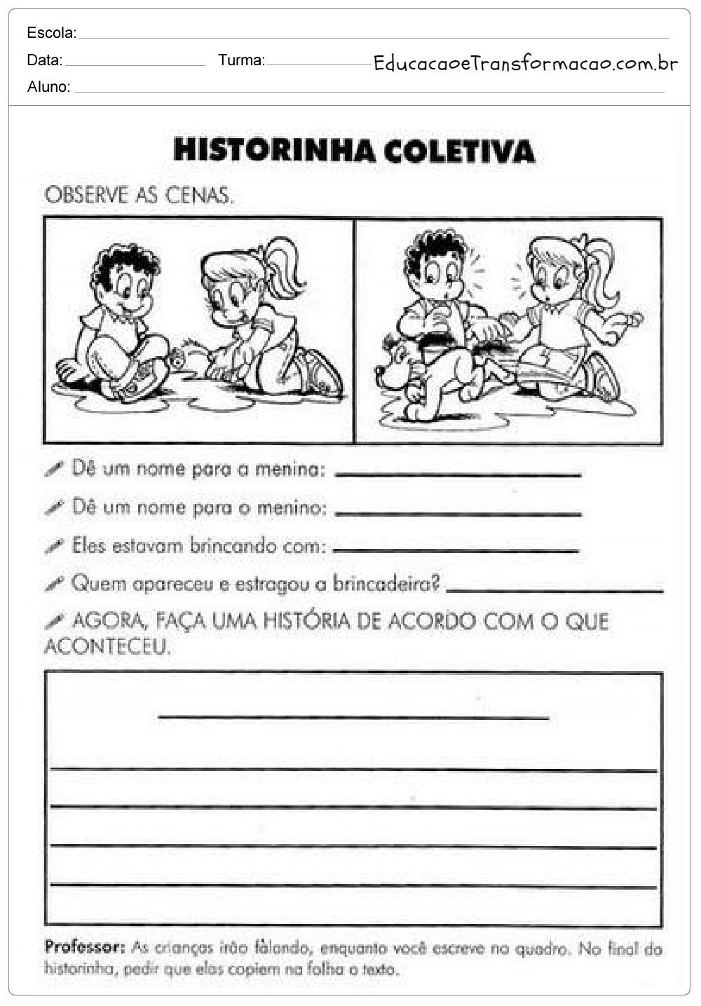 Atividades de Produção de Texto Dia das Crianças