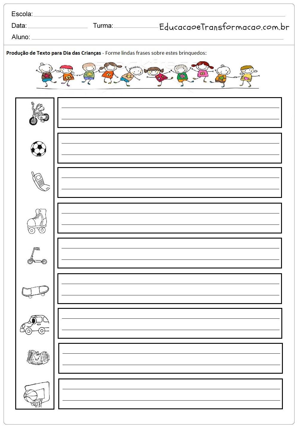 Atividades de Produção de Texto Dia das Crianças - Para Imprimir.