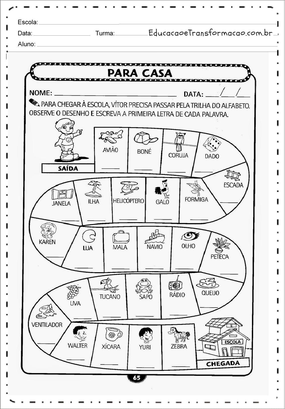 Jogo Trilha Do Alfabeto Atividades Para Educacao Infantil