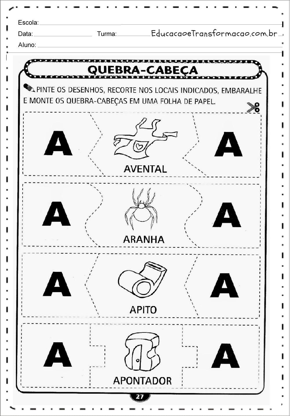 Famosos Atividades para Educação Infantil para imprimir - Atividades  IZ99