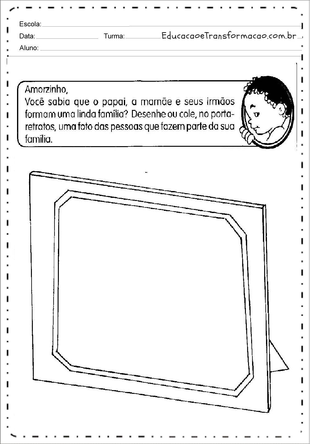 Atividades sobre Família para imprimir - Educação Infantil e Fundamental.