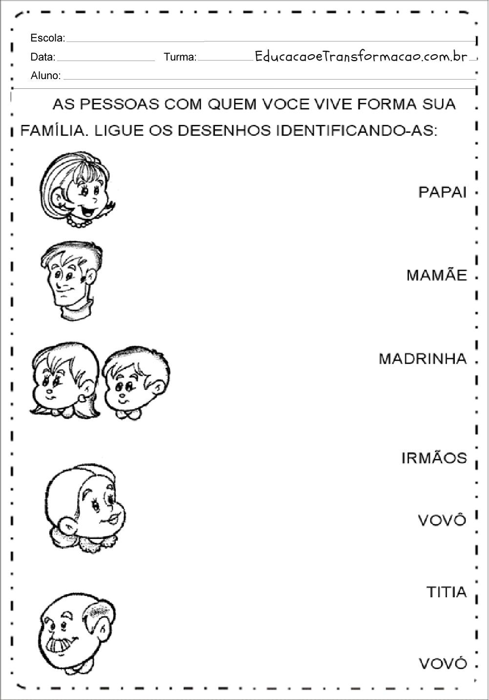 Atividades sobre Família para Educação Infantil - Para imprimir e colorir