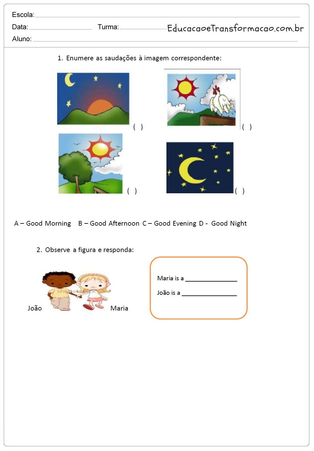 Atividades de Inglês 3 ano do Ensino Fundamental - Para Imprimir.
