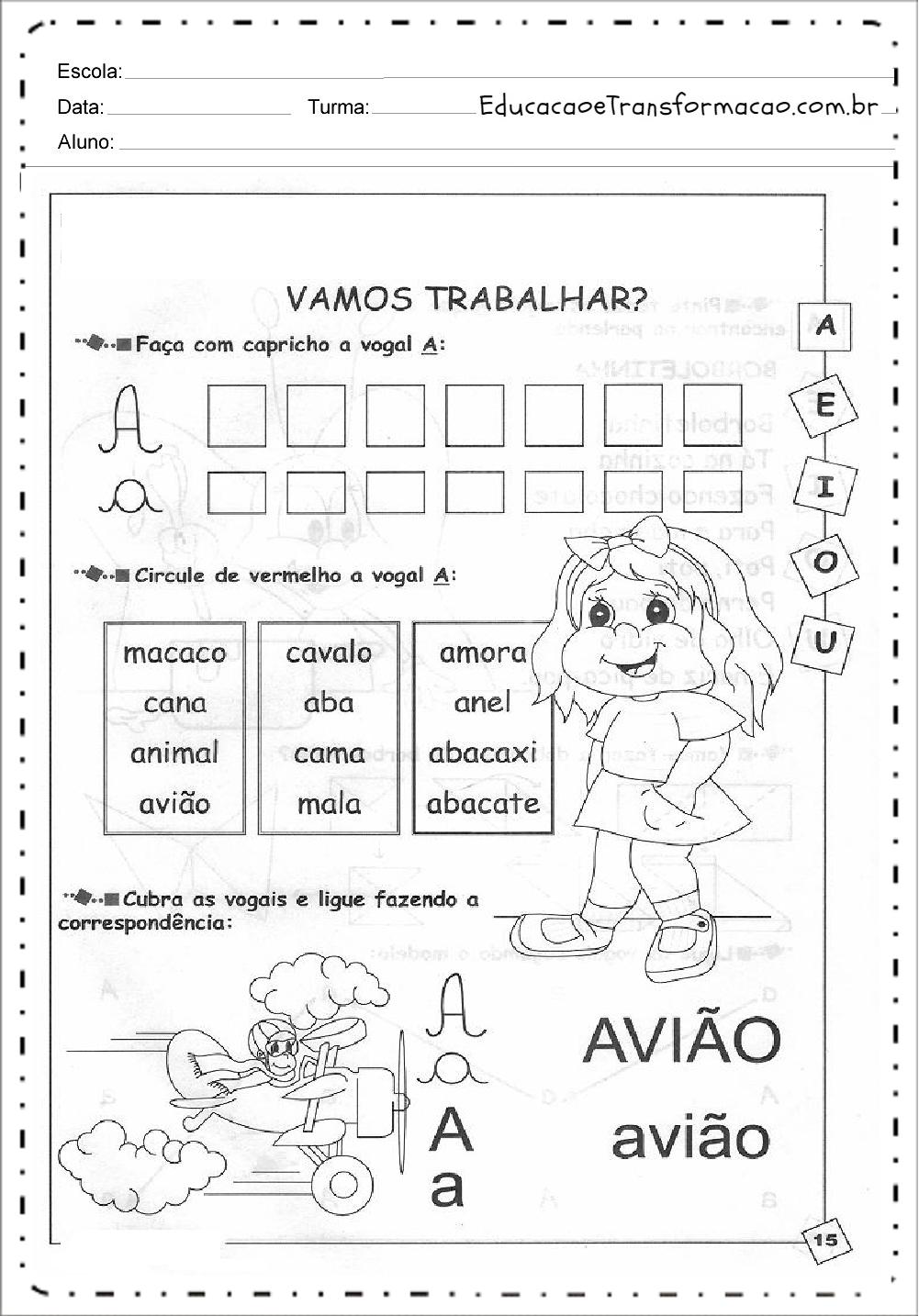 Caligrafia – Atividades de Alfabetização.