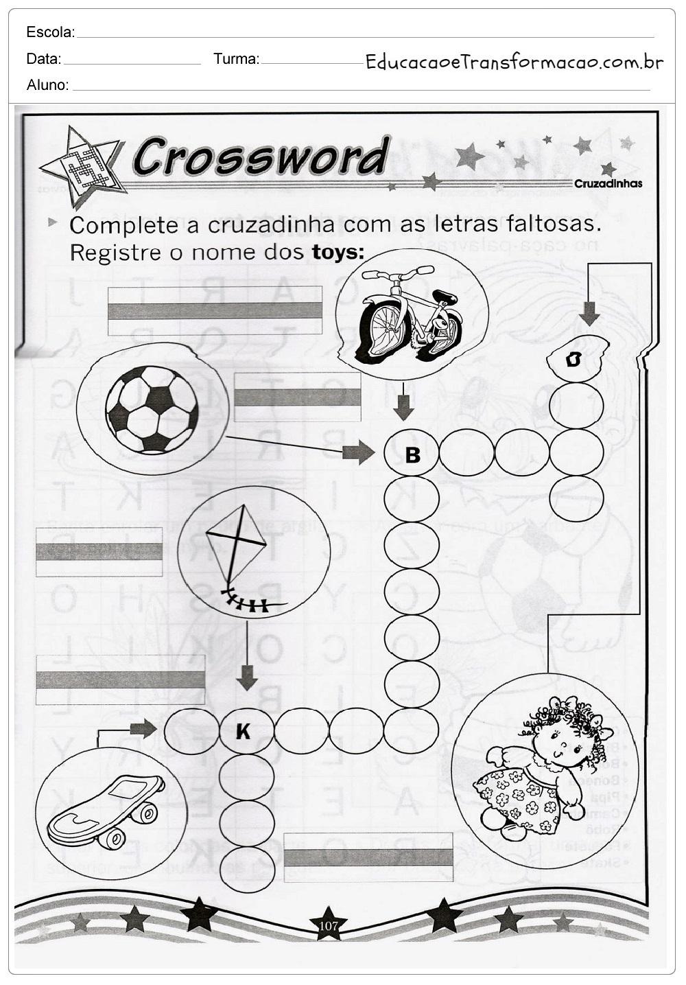 Cruzadinha Toys – Atividades de Inglês 4º ano.