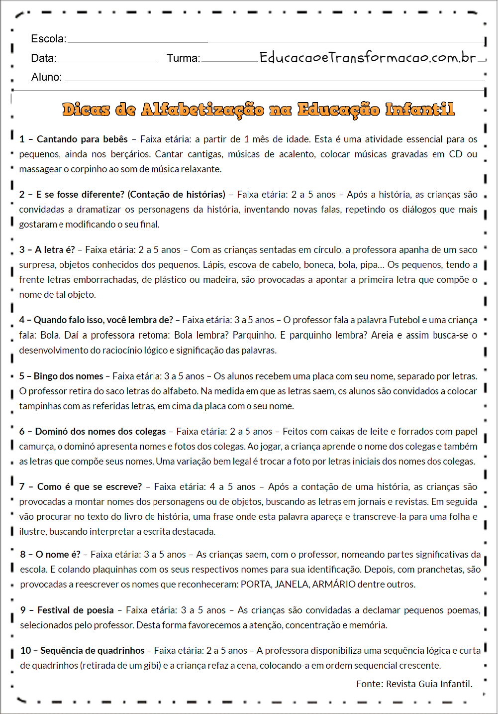 Atividades para Educação Infantil para imprimir - Atividades Educativas.