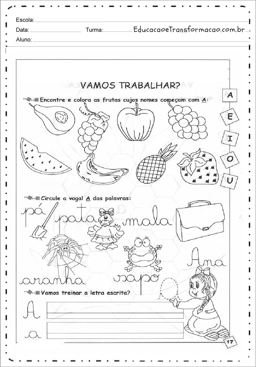Encontre as Vogais – Atividades de Alfabetização.