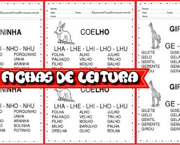 Fichas de Leitura Sílabas Complexas - Para Imprimir. - Leitura e Escrita.