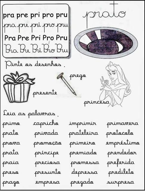 Fichas de Leitura Sílabas Complexas - Para Imprimir.