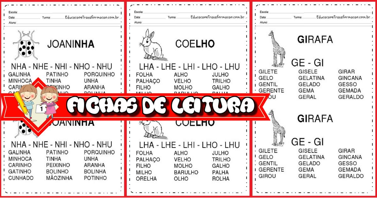 Atividades para Alfabetização -FICHAS DE LEITURA