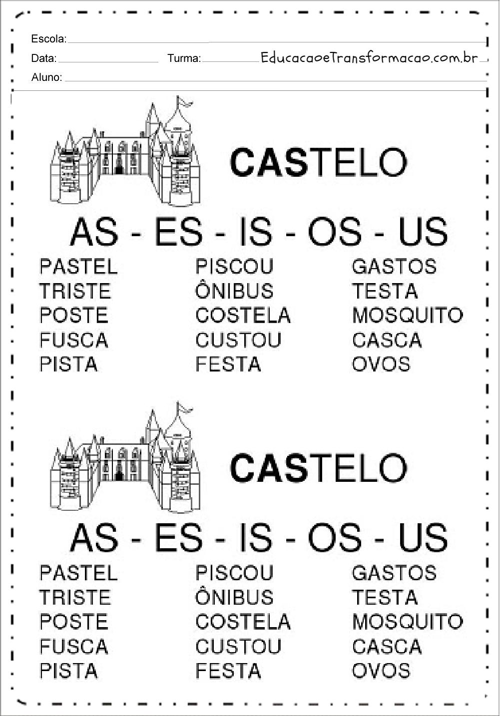 Fichas de Leitura sílabas complexas – AS – ES – IS – OS – US.