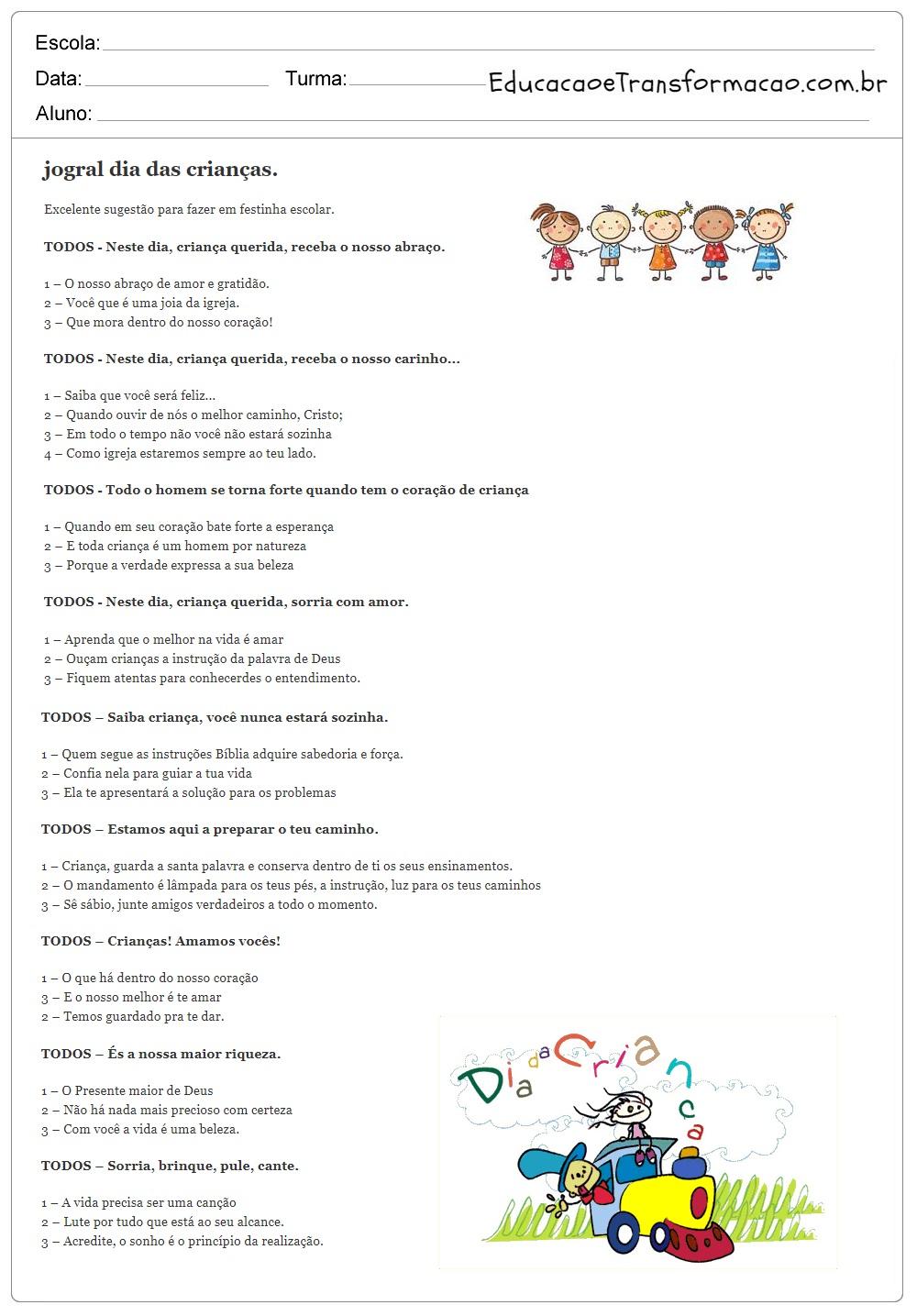 Jogral Dia das Crianças para Imprimir.