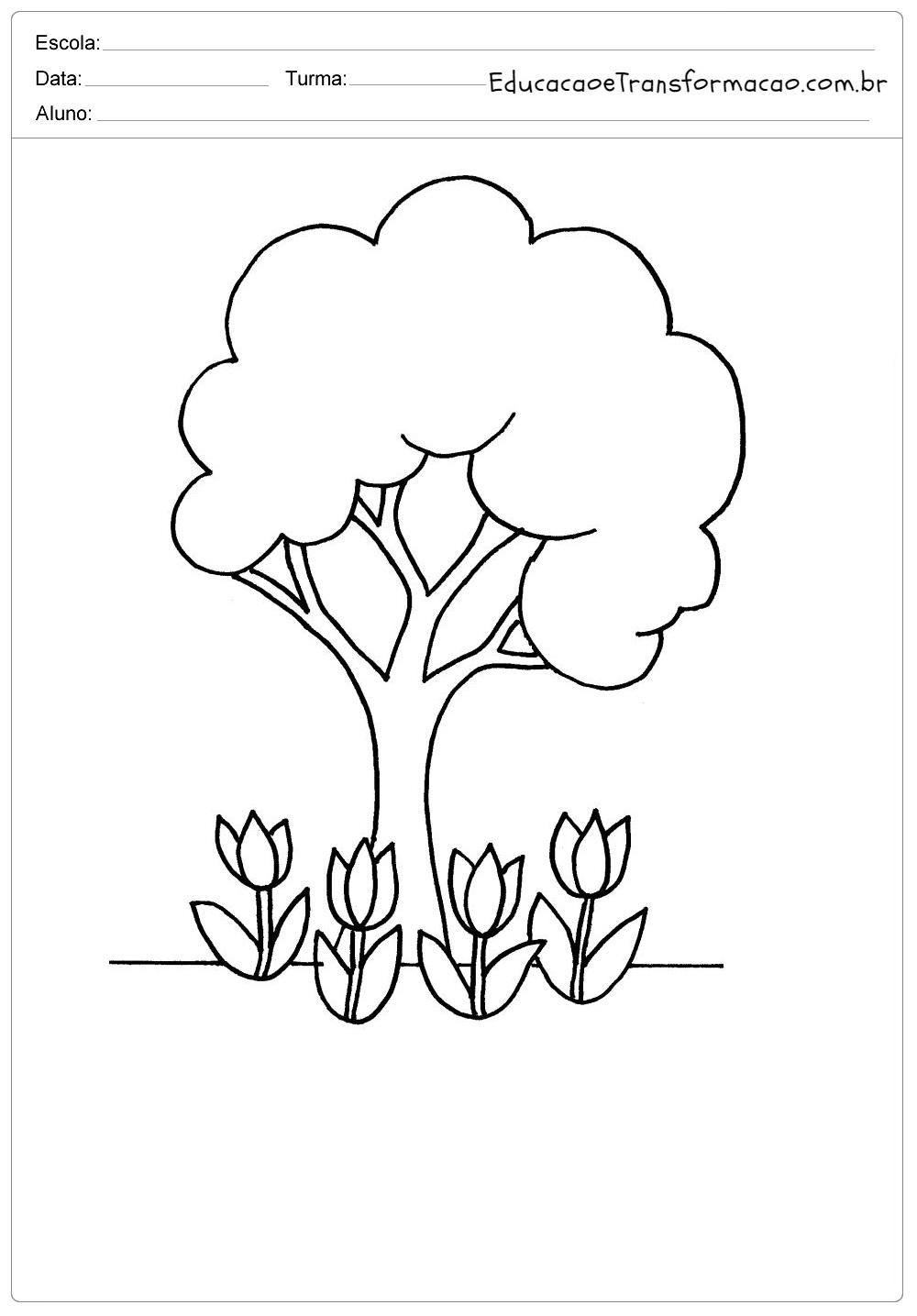 Moldes para Primavera - Estação das Flores: Flores, Arvores, Bichinhos, Menino e Menina.