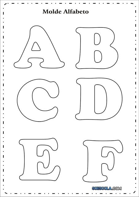 Moldes de Letras para imprimir - Letras do Alfabeto: Cursivas e Retas.