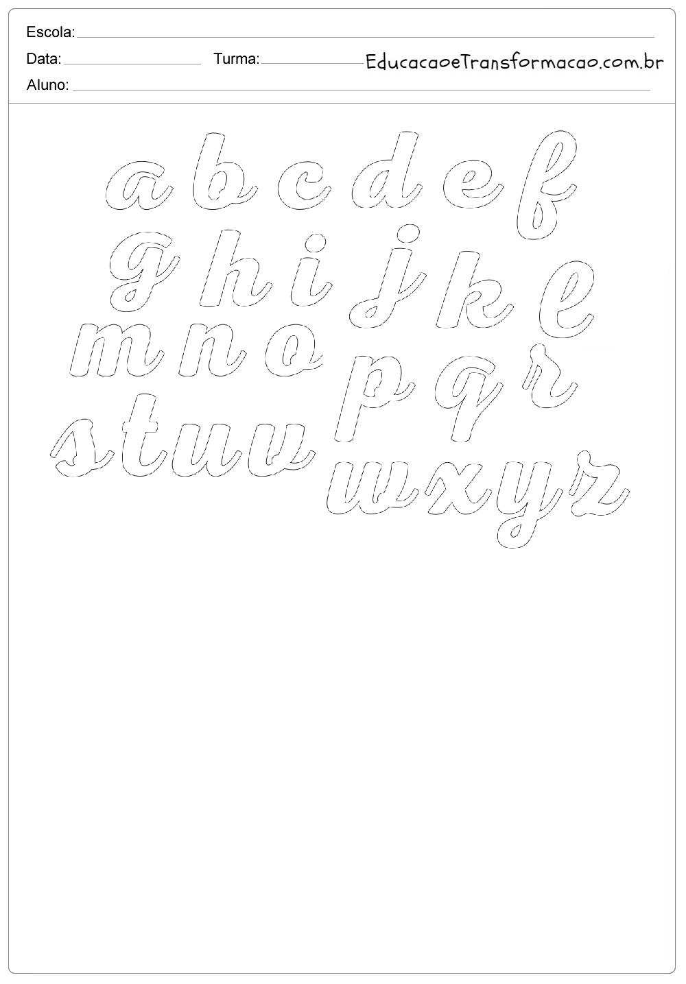 Moldes de Letras Cursivas para imprimir.
