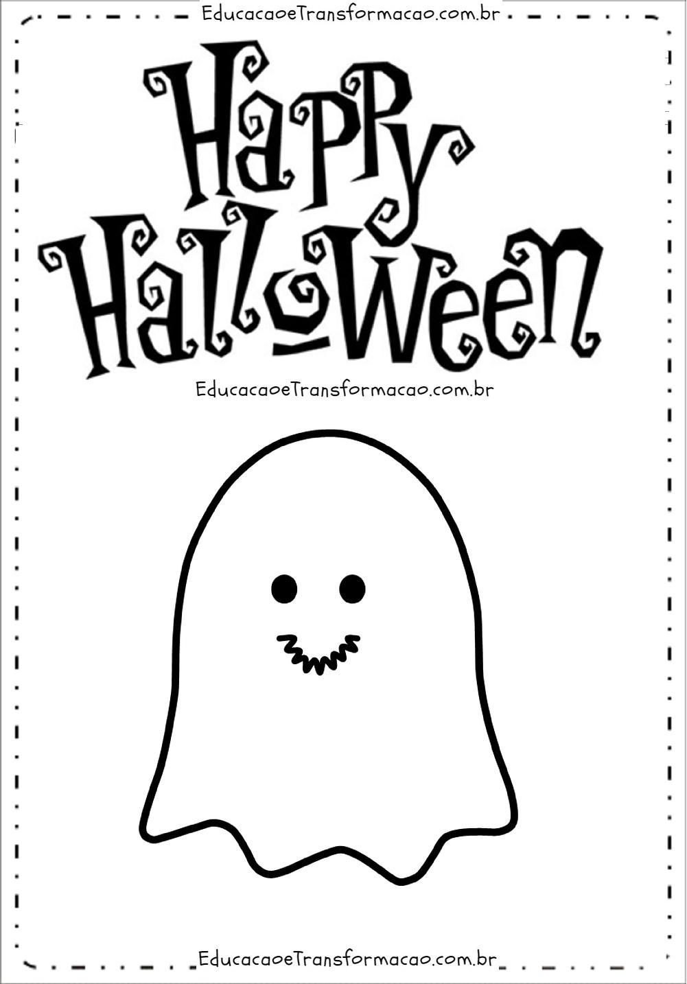 Happy Halloween com Fantasma – Moldes de Letras Dia das Bruxas.
