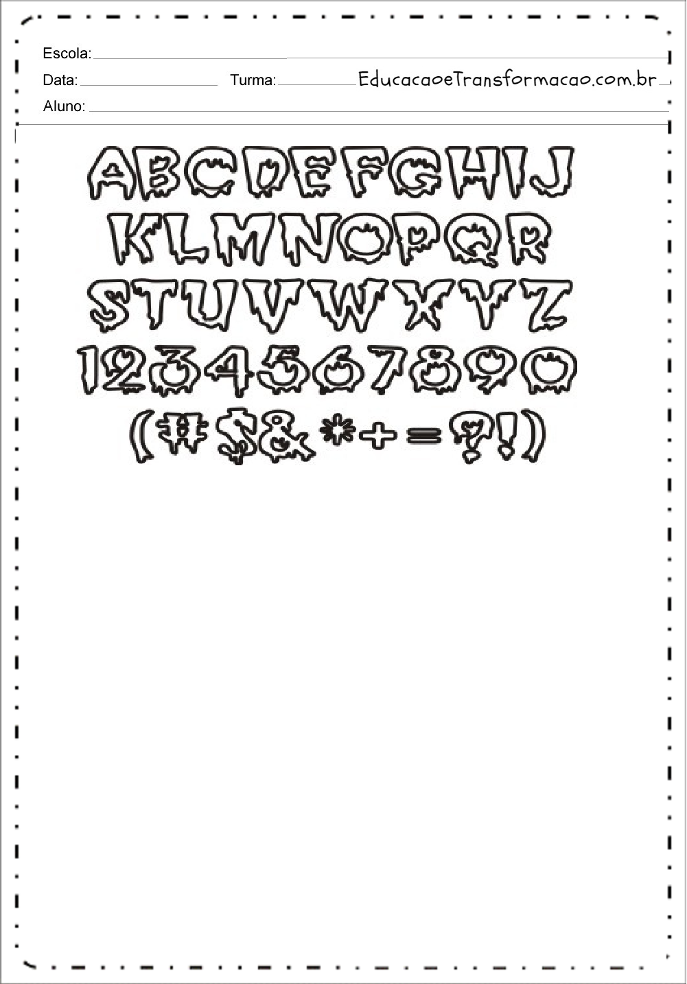 Letras e Números – Moldes de Letras Dia das Bruxas.