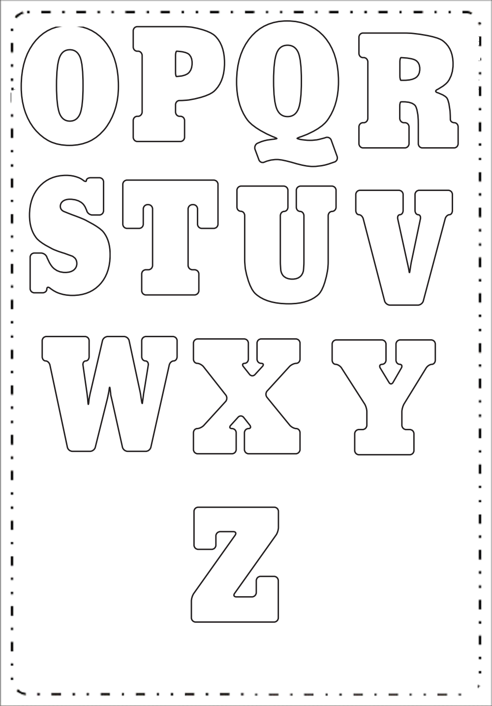 O até Z – Moldes de Letras Grandes para imprimir.