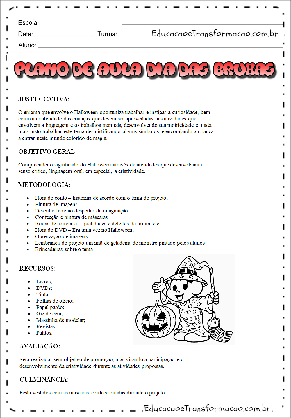 Plano de aula dia das bruxas para Berçário e Pré para imprimir.