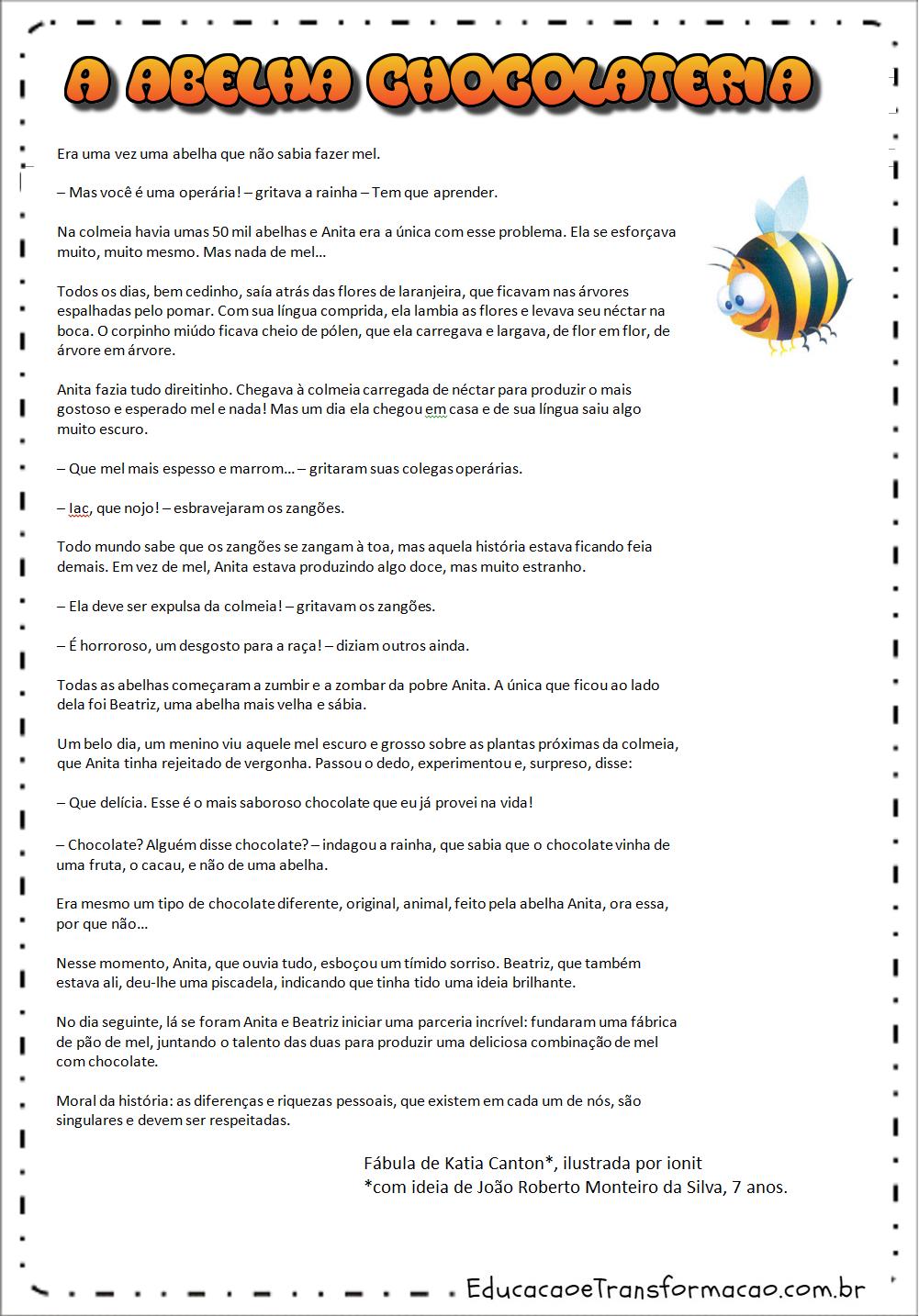 Plano de aula diferenças:A abelha chocolateira.