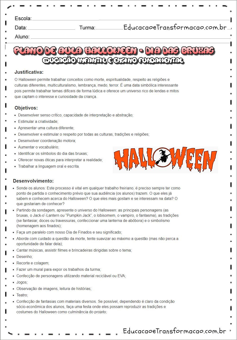 Super Plano de aula Dia das Bruxas de Educação Infantil e Ensino  XX29