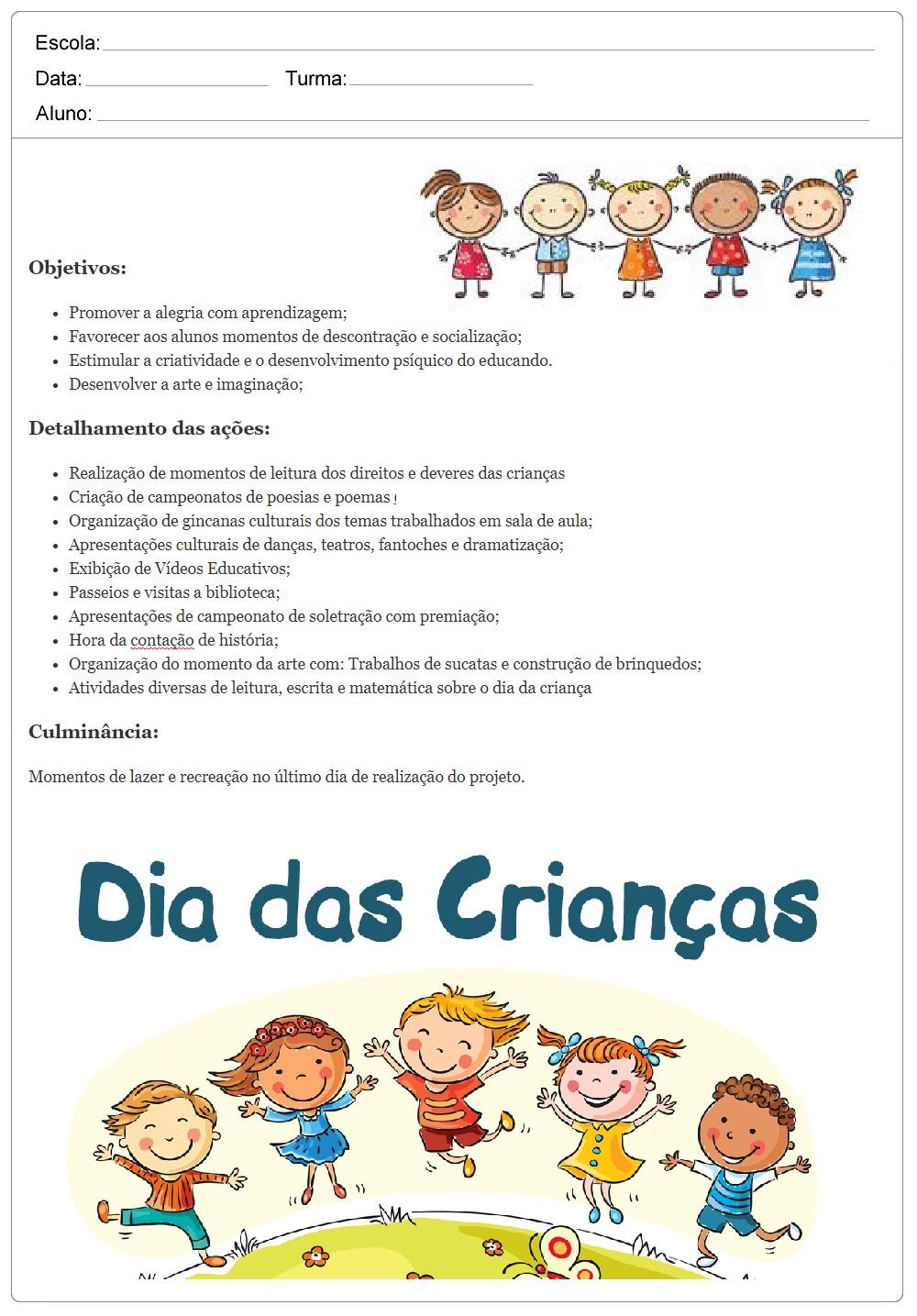 Planos de aula para Dia das Crianças - Semana da Criança.