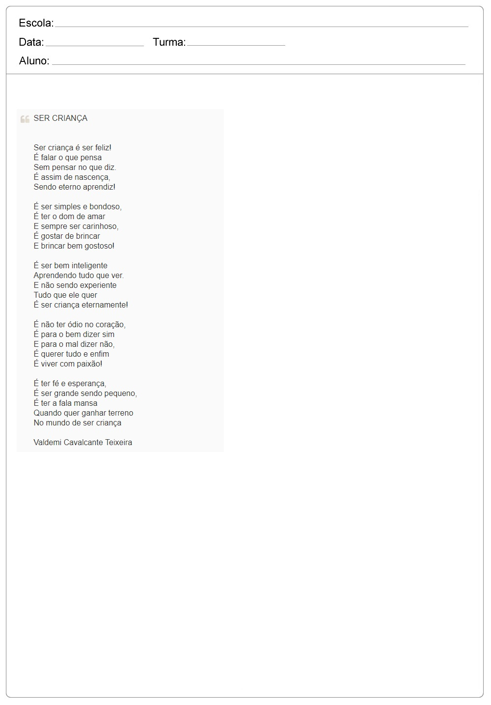 Poemas e Poesias para o Dia das Crianças