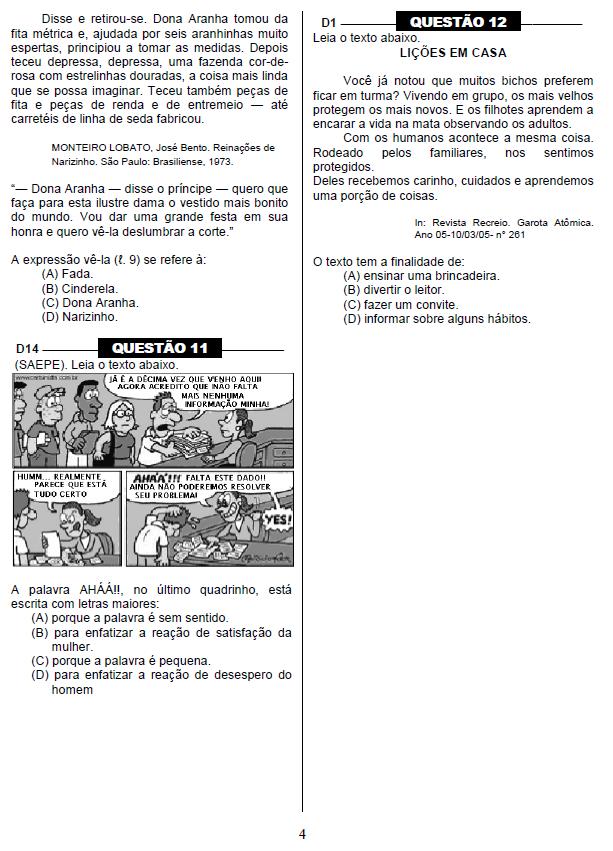 Questões da Prova Brasil com Gabarito 5º ano.