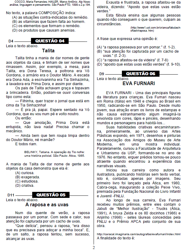 Questões da Prova Brasil em PDF com gabarito para imprimir.