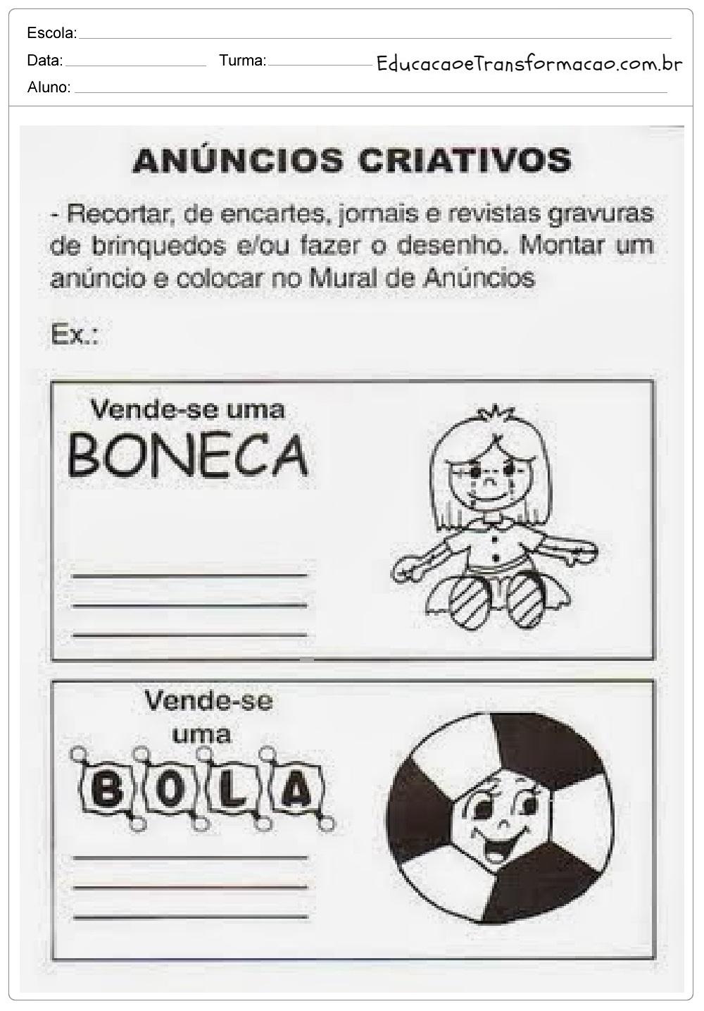 Sequência de Atividades Dia das Crianças para imprimir - 12 de Outubro.