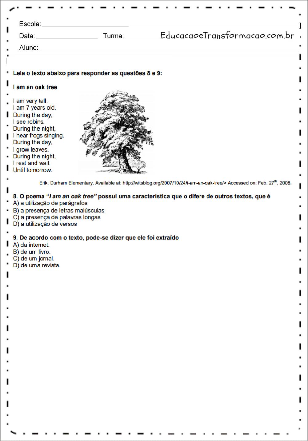 Atividades de Inglês 6 ano do Ensino Fundamental - Para Imprimir
