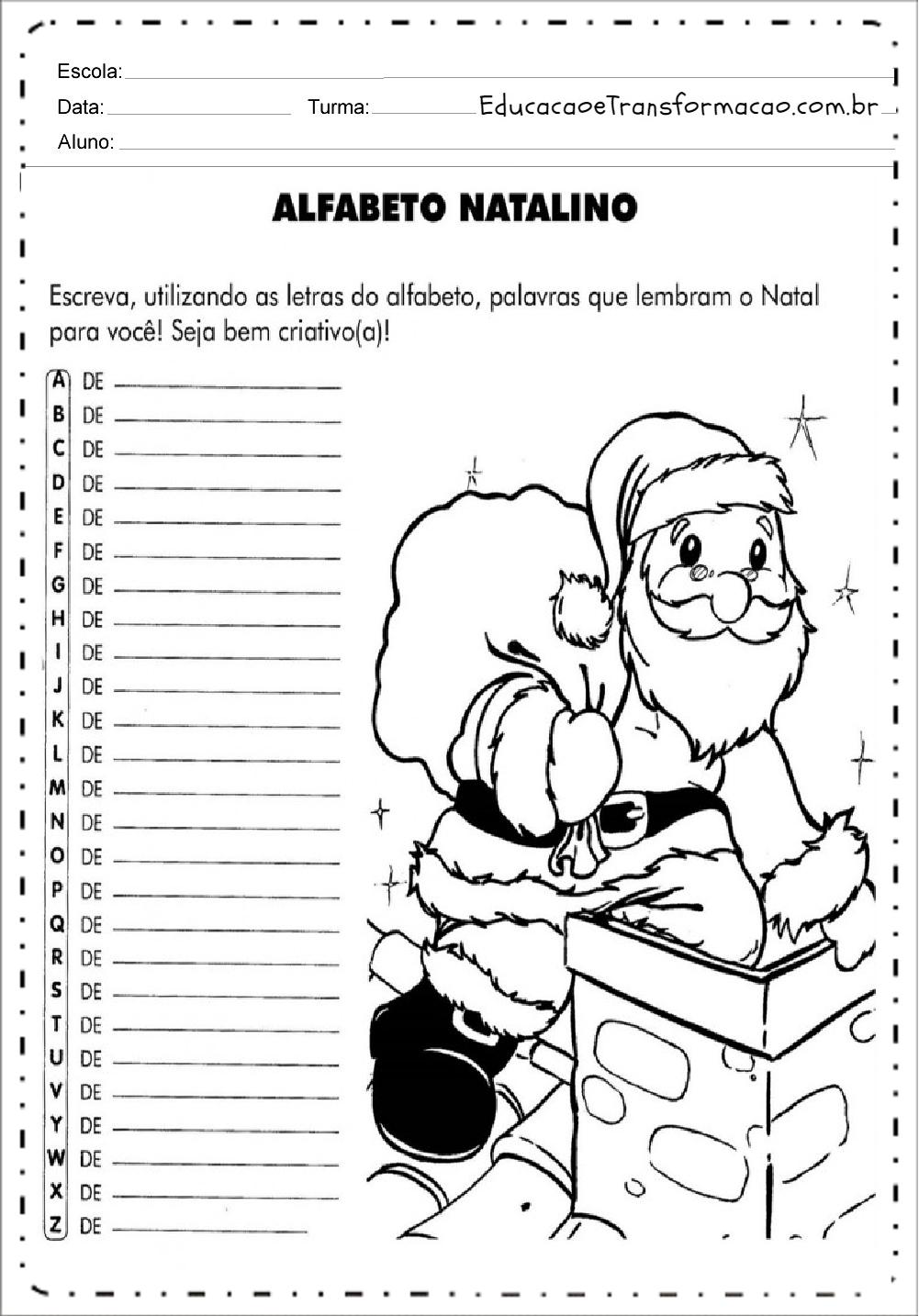Alfabeto Natalino – Atividades de Natal.