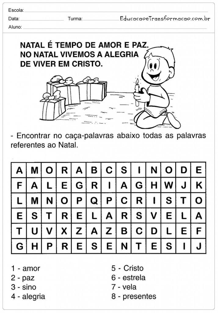 Caça Palavras – Atividades de Natal.