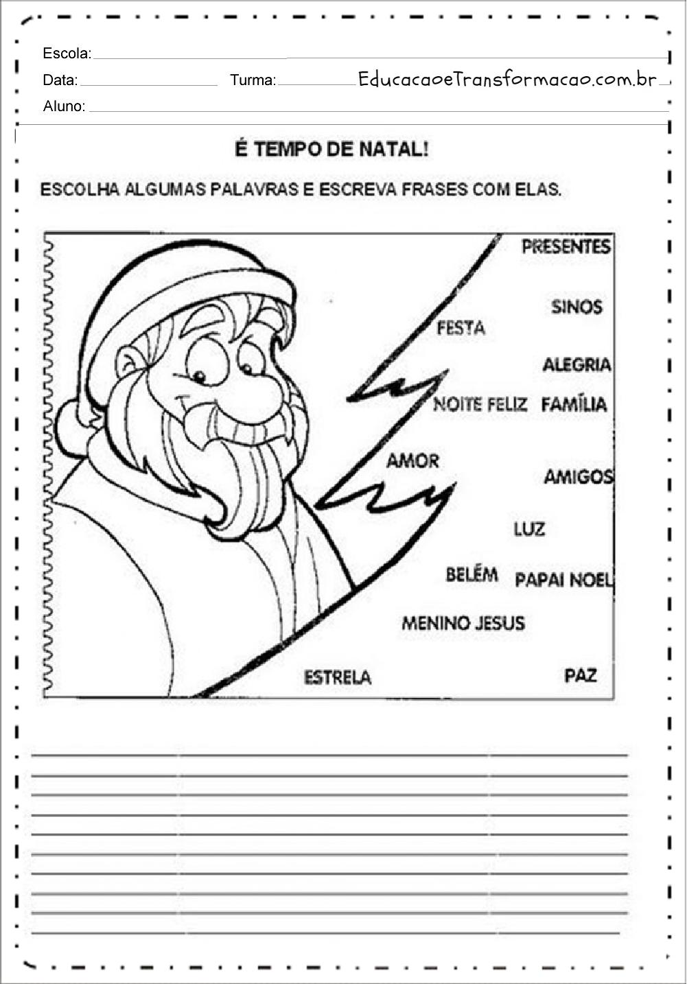 Escreva Frases  – Atividades de Natal.