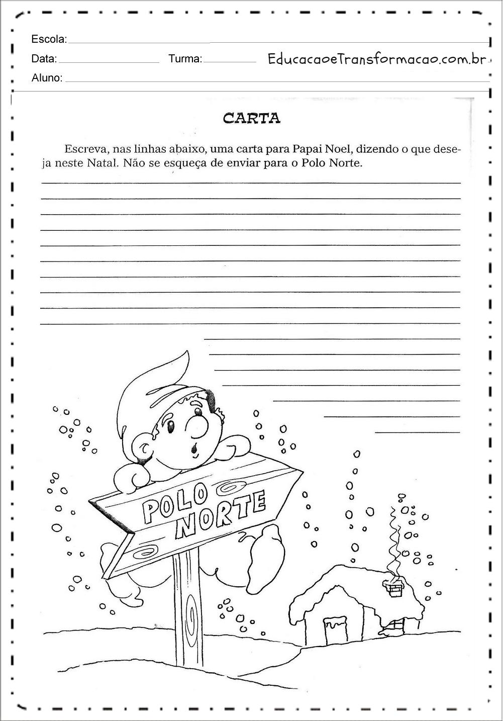 Atividades de Produção de Texto de Natal - Para imprimir