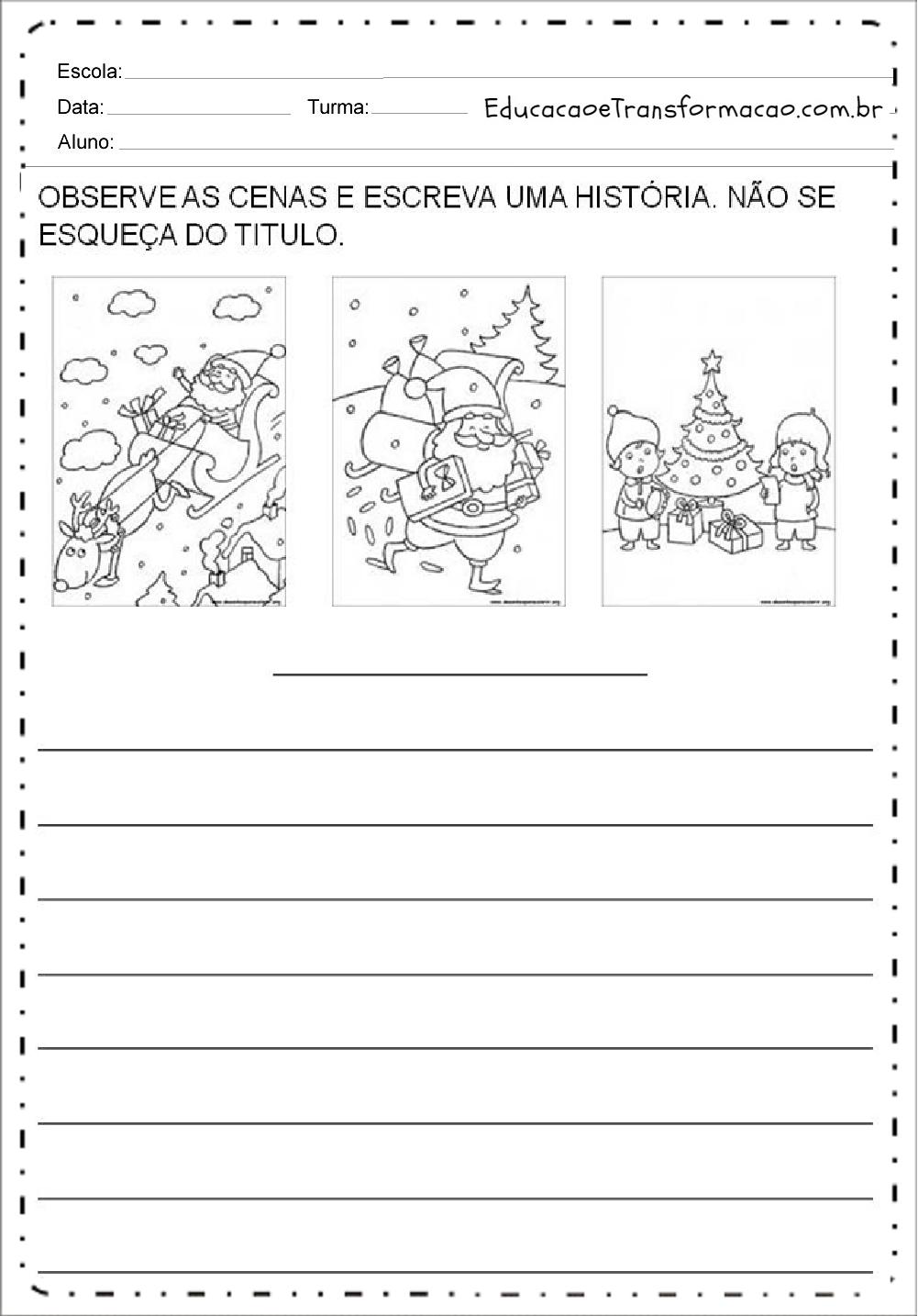 Top Atividades de Produção de Texto de Natal - Para imprimir WT47