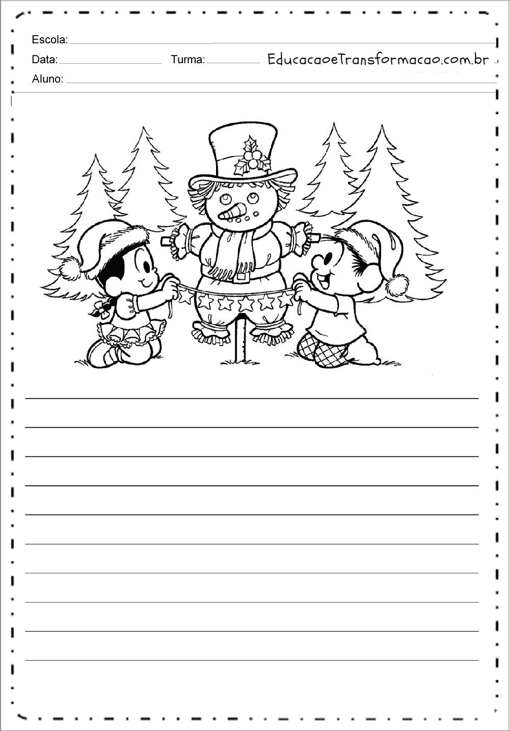 Atividades de Produção de Texto de Natal – Boneco de Neve