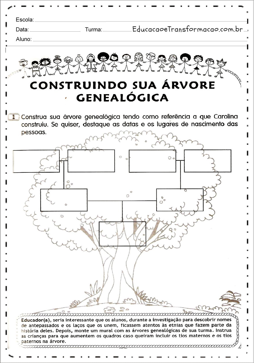 Super Atividades sobre árvore genealógica para imprimir e baixar em PDF LP24